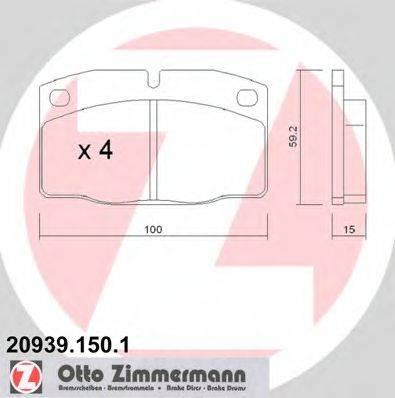 ZIMMERMANN 209391501 Комплект тормозных колодок, дисковый тормоз