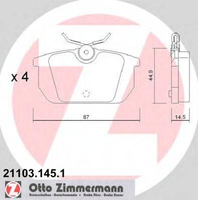 ZIMMERMANN 211031451 Комплект тормозных колодок, дисковый тормоз