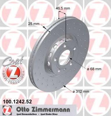 ZIMMERMANN 100124252 Тормозной диск