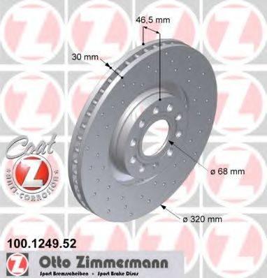 ZIMMERMANN 100124952 Тормозной диск