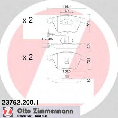 ZIMMERMANN 237622001 Комплект тормозных колодок, дисковый тормоз