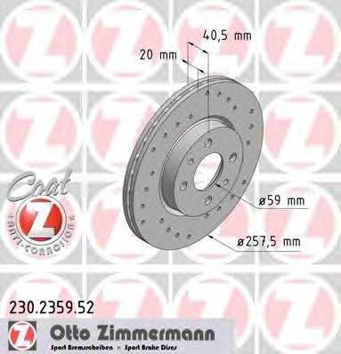 ZIMMERMANN 230235952 Тормозной диск