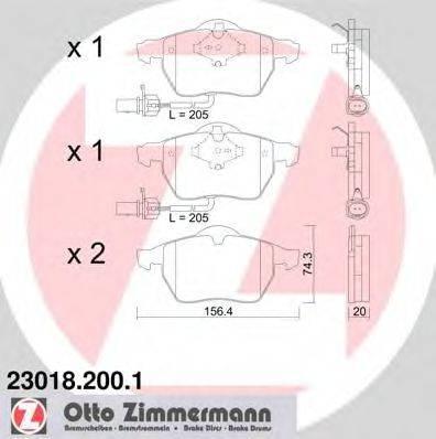 ZIMMERMANN 230182001 Комплект тормозных колодок, дисковый тормоз
