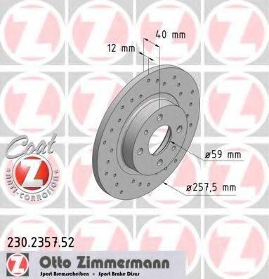 ZIMMERMANN 230235752 Тормозной диск
