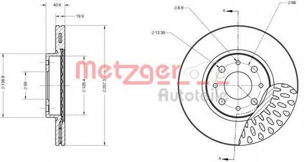 METZGER 6110091 Тормозной диск