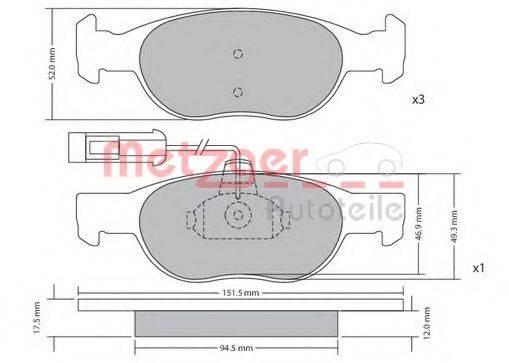 METZGER 1170517 Комплект тормозных колодок, дисковый тормоз