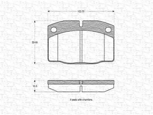 MAGNETI MARELLI 363702160015 Комплект тормозных колодок, дисковый тормоз