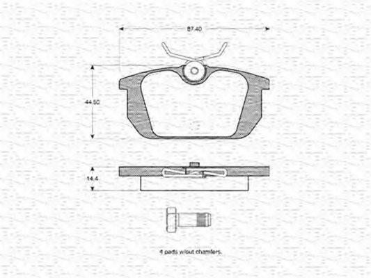 MAGNETI MARELLI 363702160236 Комплект тормозных колодок, дисковый тормоз