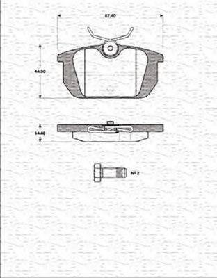 MAGNETI MARELLI 363702161255 Комплект тормозных колодок, дисковый тормоз