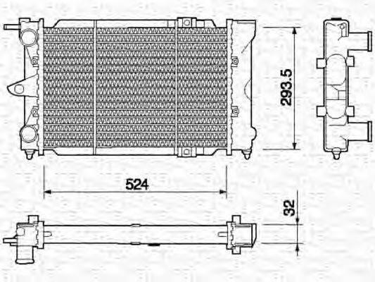 MAGNETI MARELLI 350213651000 Радиатор, охлаждение двигателя